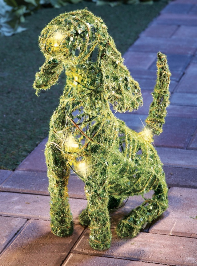 Lighted Moss Dog Outdoor Yard Display Fresh Garden Decor