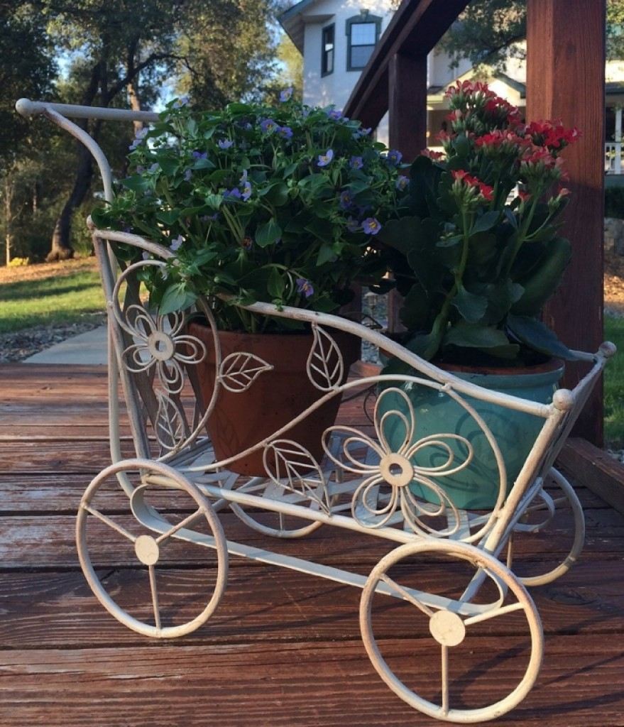 Antique White Carriage Shaped Plant Stand Fresh Garden Decor