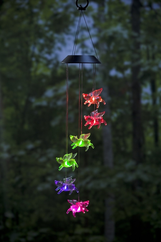 Color Changing Led Solar Flying Pigs Mobile Fresh Garden