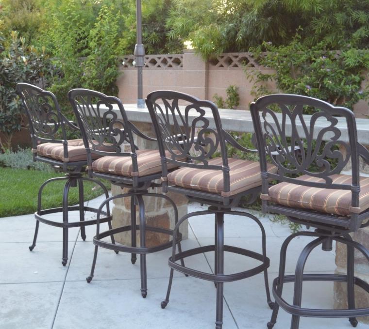 Elizabeth Outdoor Patio Set 4pc Swivel Bar Stools 30 Cast Aluminum Dark Bronze