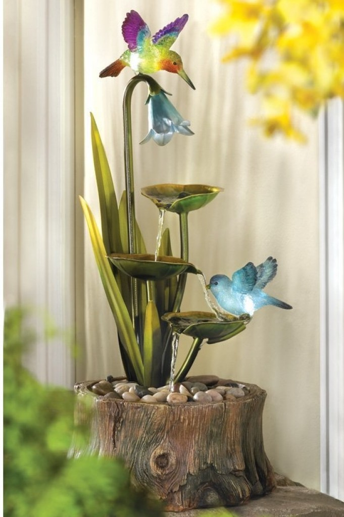 Hummingbird haven home garden decor water fountain fresh for Hummingbird decor