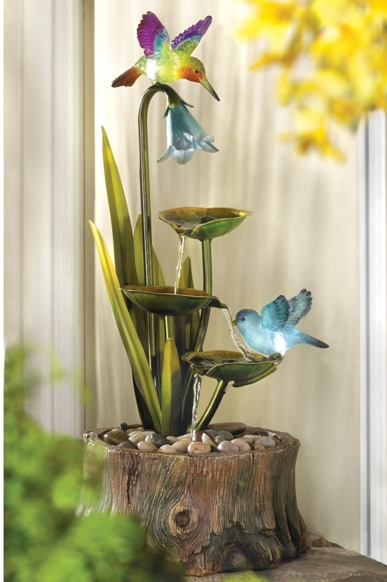 Hummingbird Haven Home Garden Decor Water Fountain Fresh