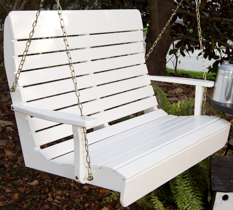 made high back white porch swing with rope for sale home depot