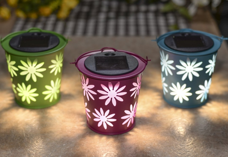 Set of 3 Colorful Metal Bucket Solar Light