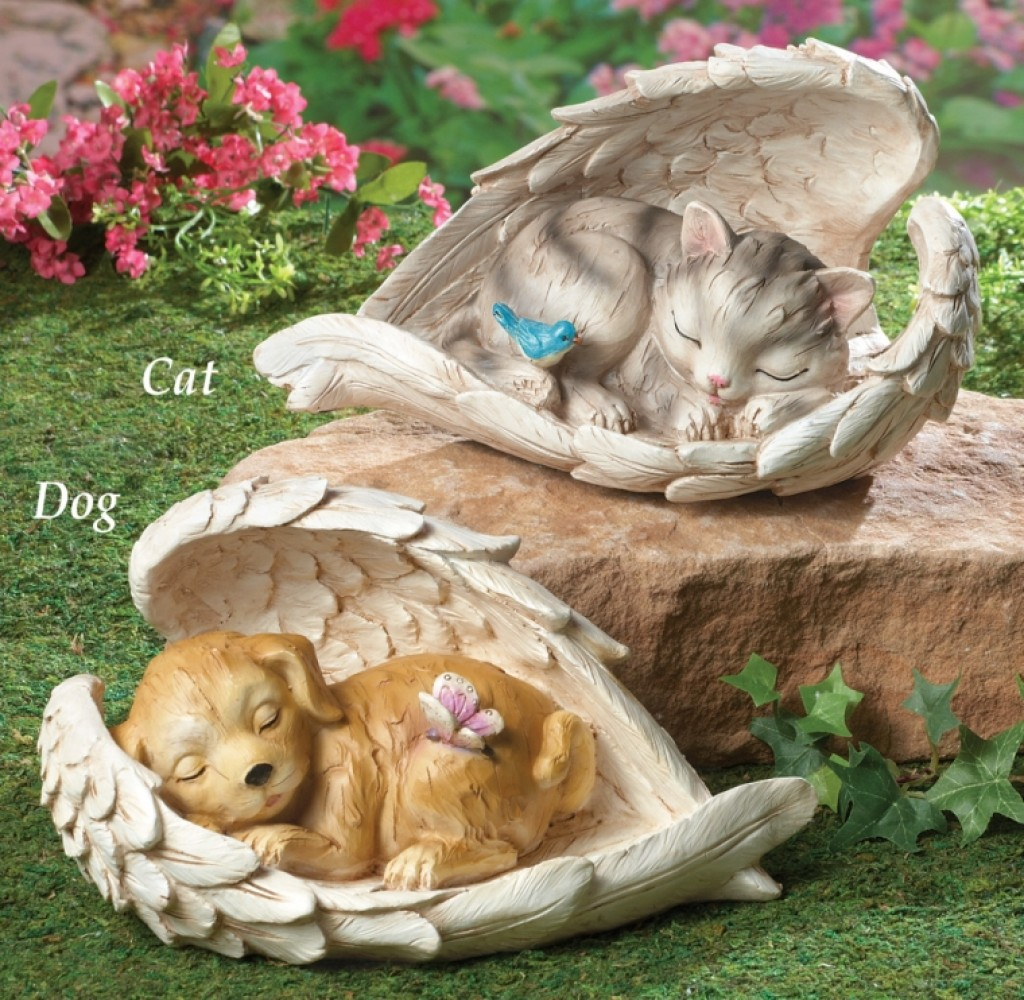 Sleeping Pet Guardian Angel Wings Statue Fresh Garden Decor