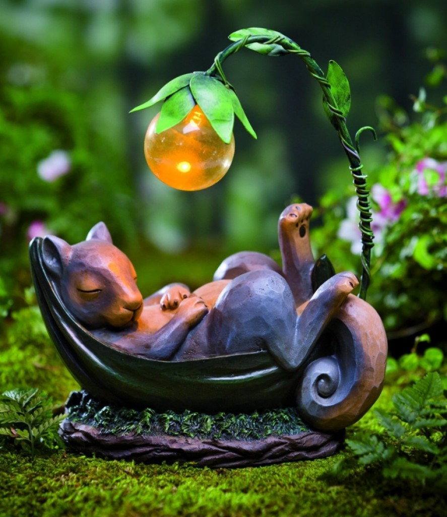Solar lighted daydreaming animal sculpture fresh garden decor - Garden solar decorations ...