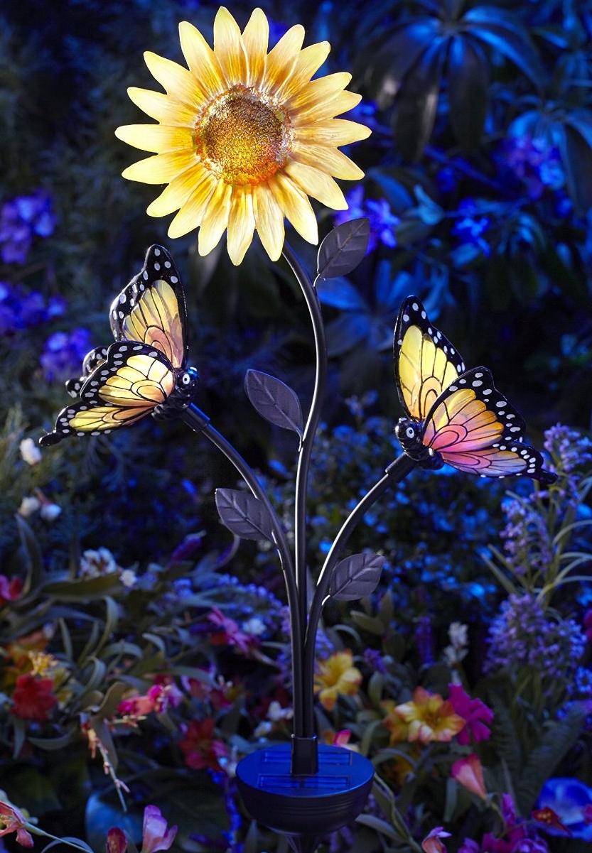 Solar-Powered Butterfly and Sunflower Garden Brighter ...