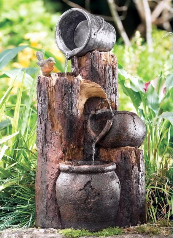 Solar Powered Stumps Cascading Fountain Fresh Garden Decor