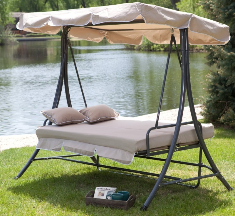 All-Weather Swing Bed with Toss Pillows