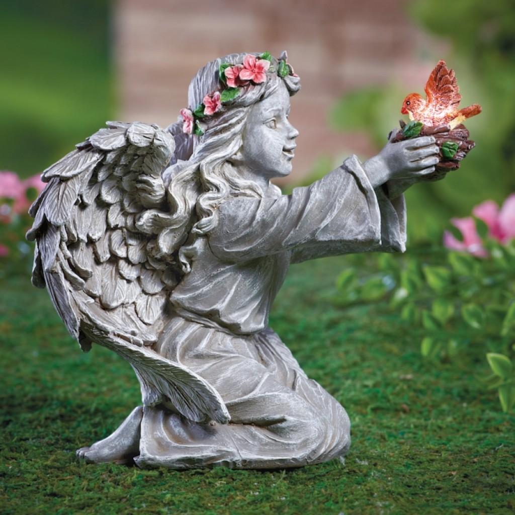 Angel Garden Decor With Solar Lighted Bird Fresh Garden