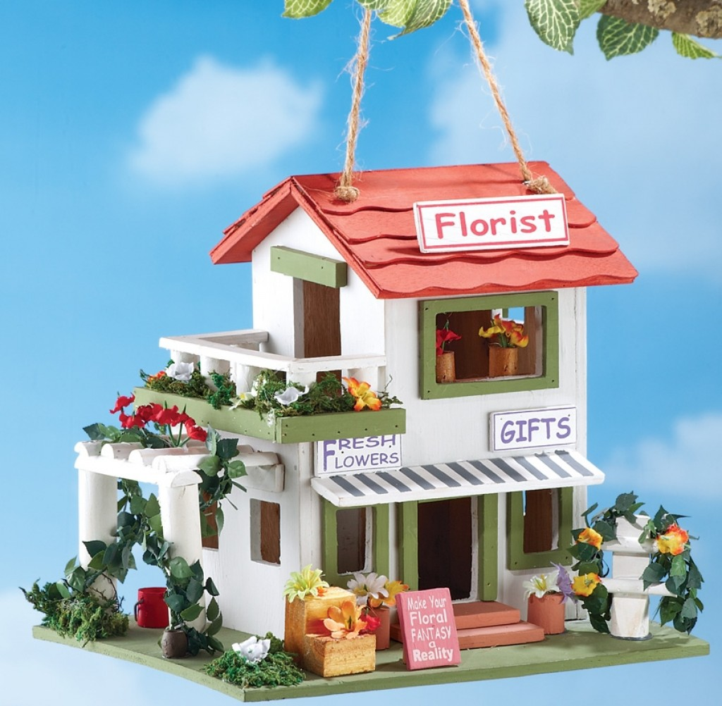 Flower shop hanging birdhouse fresh garden decor - Garden decor stores ...