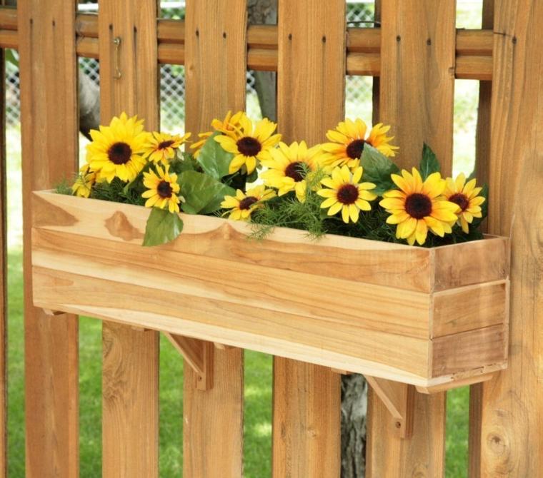 Rectangle Teak Wood Blossom Flower Box