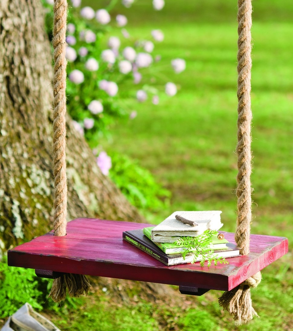 Rope tree swing with wooden seat fresh garden decor for Wooden garden ornaments and accessories