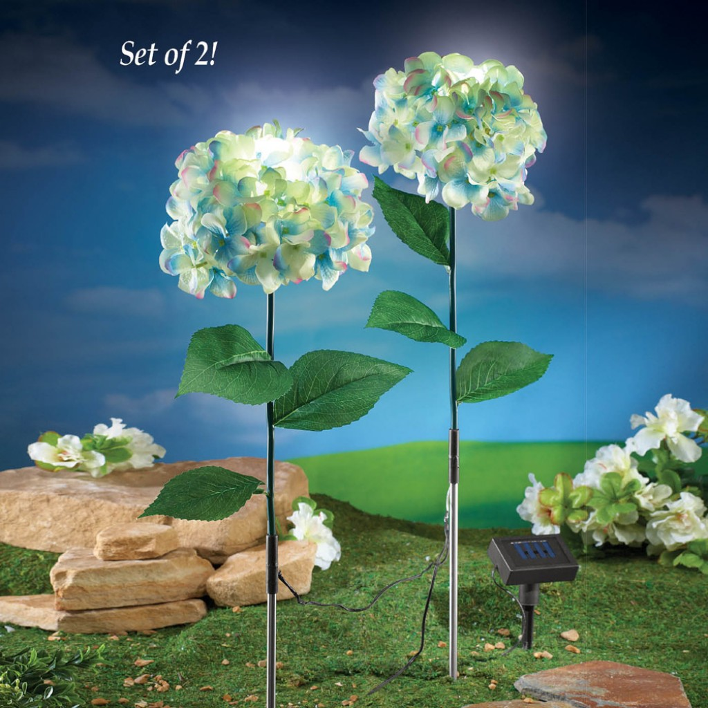 Solar powered hydrangea garden stakes fresh garden decor for Decorative garden accents