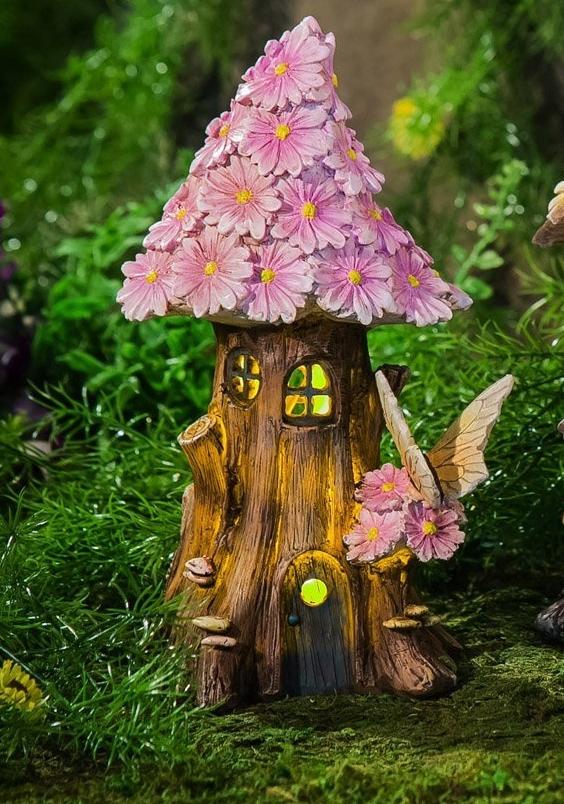 Spring Petals Short Lighted Fairy House Fresh Garden Decor