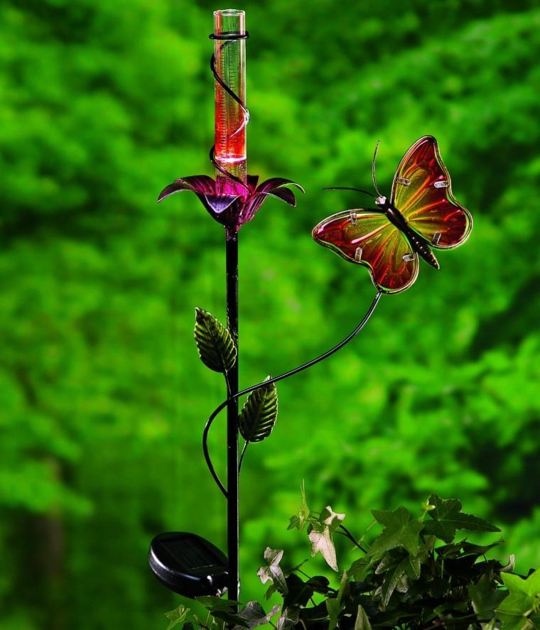 Butterfly And Flower Solar Rain Gauge