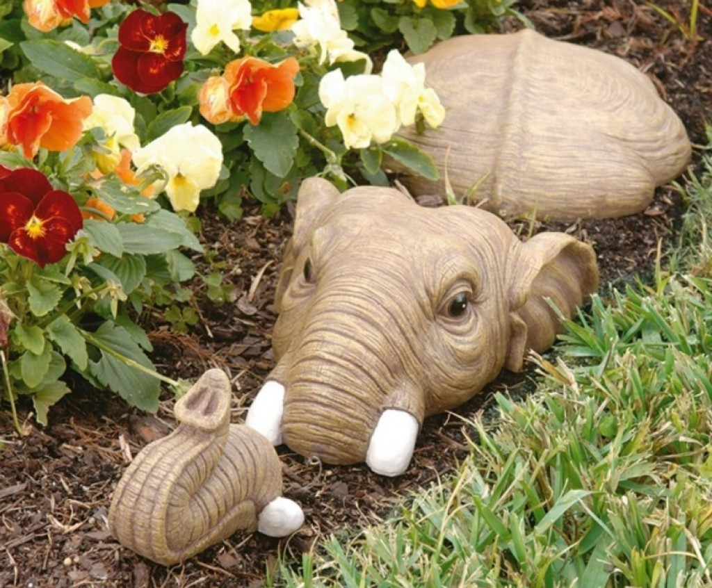 In for a swim elephant lawn sculpture fresh garden decor for Lawn and garden decorative accessories