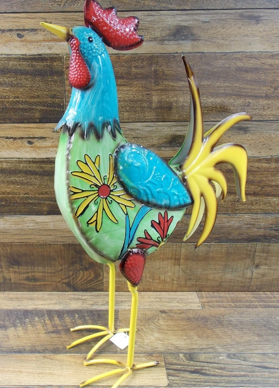 Multi Colored Metal Rooster With Floral Design Yard Garden Decor Yard Art