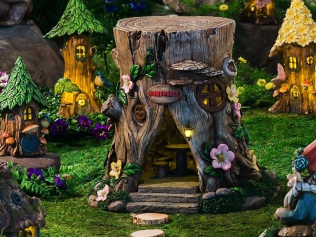 Spring petals short lighted fairy house fresh garden decor for How to make illuminated tree stumps