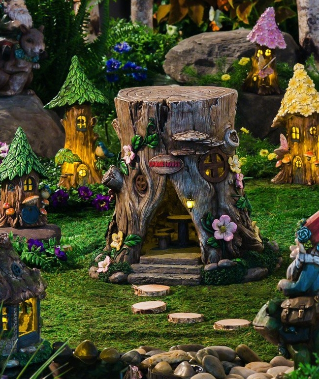 Tree Stump Lighted Fairy House