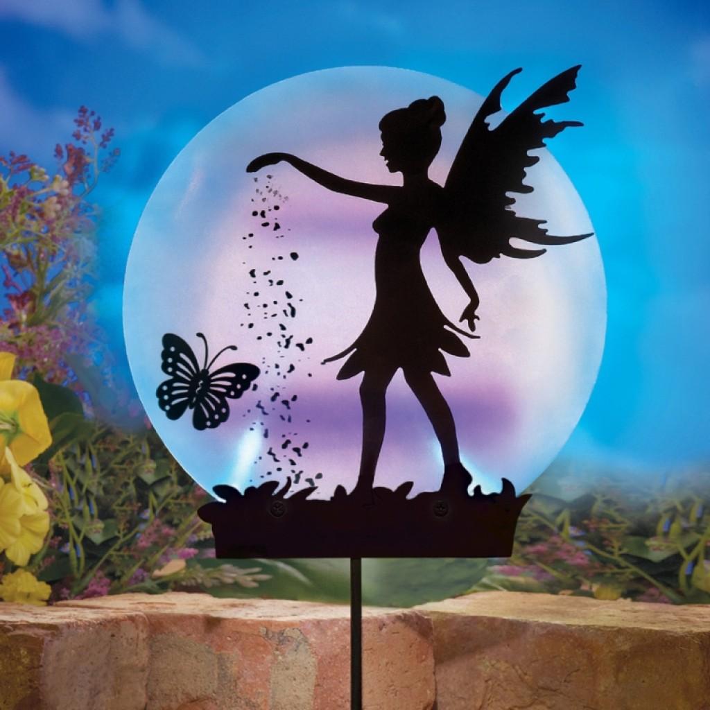 Solar fairy silhouette garden stake fresh garden decor for Solar garden decor