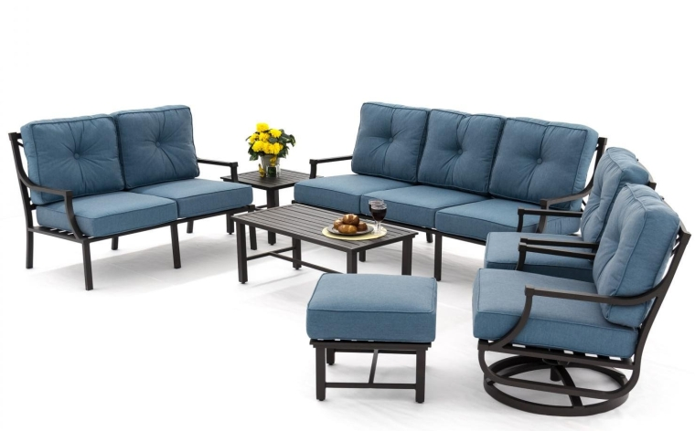 7 Piece Aluminum Patio Seating Set With Swivel Rocker