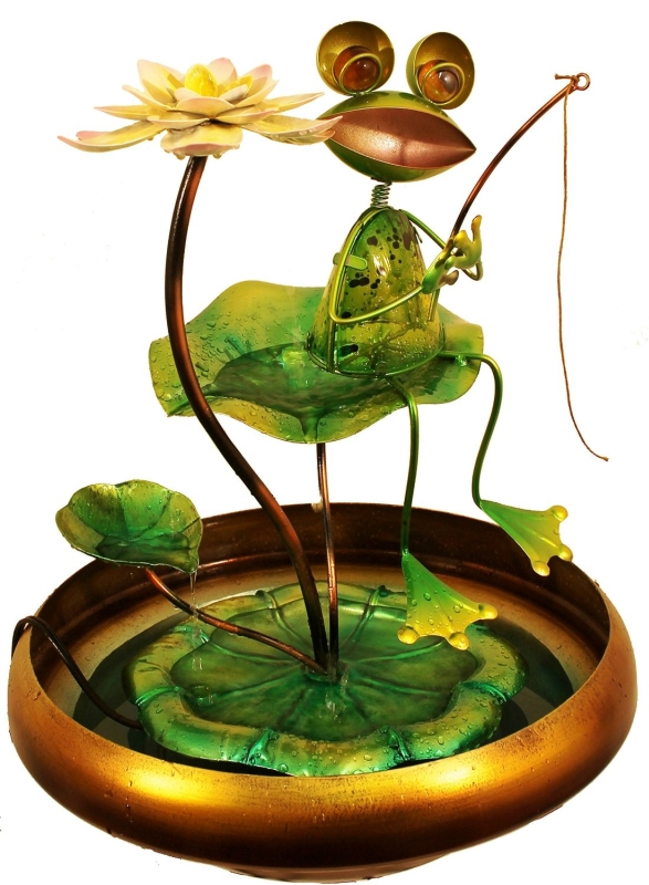 Fishing Frog Water Fountain Fresh Garden Decor