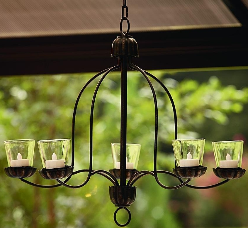 Hanging Votive Chandelier For Outdoor Living Space Patio Deck Porch Backyard
