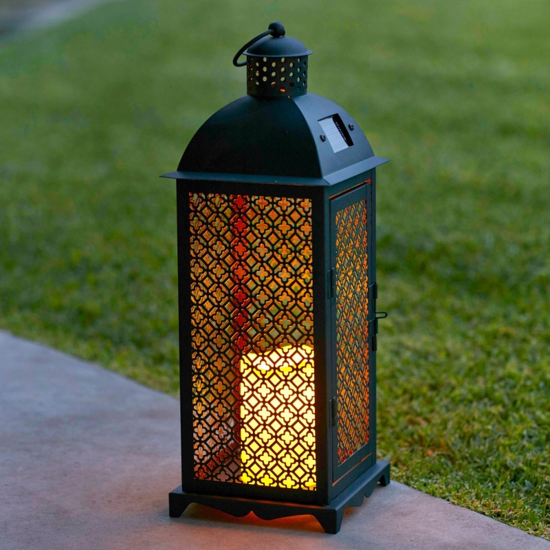 solar powered decorative lanterns moroccan solar powered led garden flameless candle lantern 5594