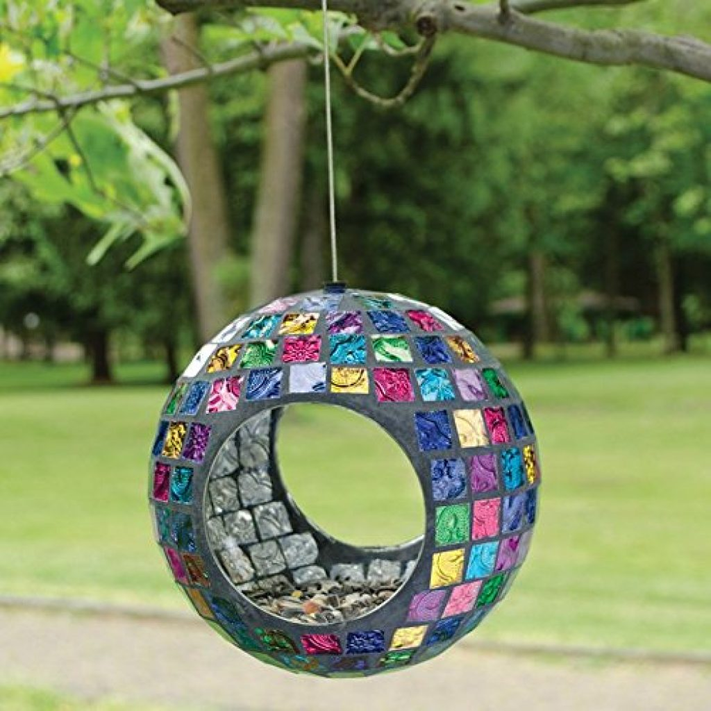 Mosaic Glass Garden Jeweled Hues Circle Bird Feeder