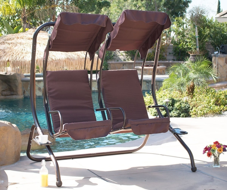 Outdoor Patio Swing Set 2 Person Armrest Steel Seat Padded w/ Canopy