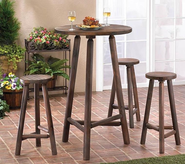 Patio Furniture  Bistro Set Water Resistant Wooden Bar