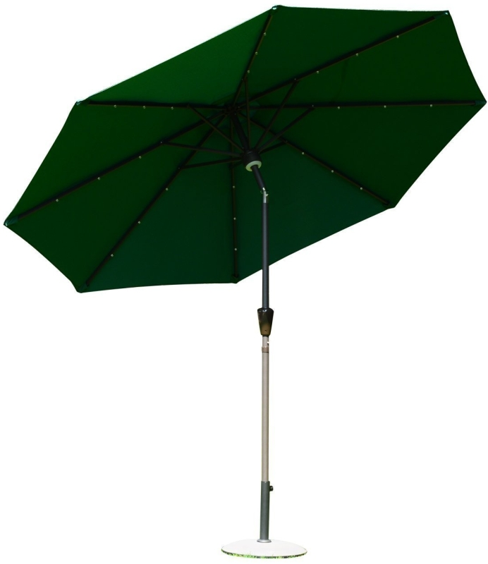 Outsunny 9' Solar LED Market Patio Umbrella wBluetooth - Green