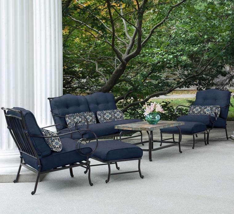 6-Piece Patio Set in Navy Blue with a Stone-top Coffee Table