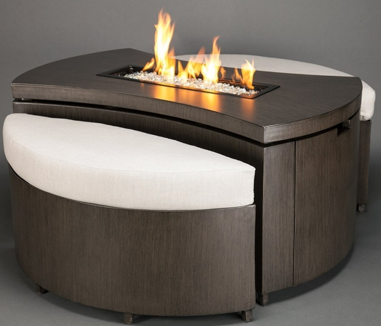 Agio Barbados Gas Fire Pit Set with Two Nesting Benches and Copper Reflective Fire Glass