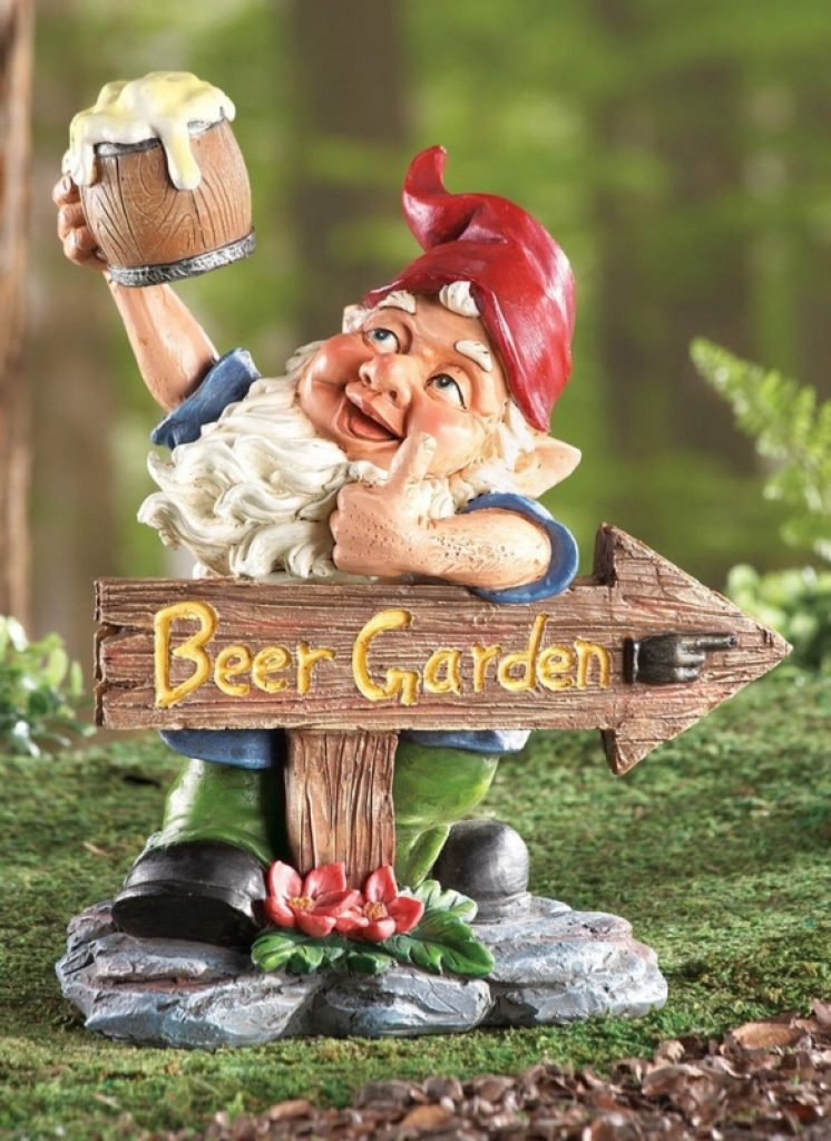 Gnome In Garden: Beer Garden Gnome Lawn Ornament