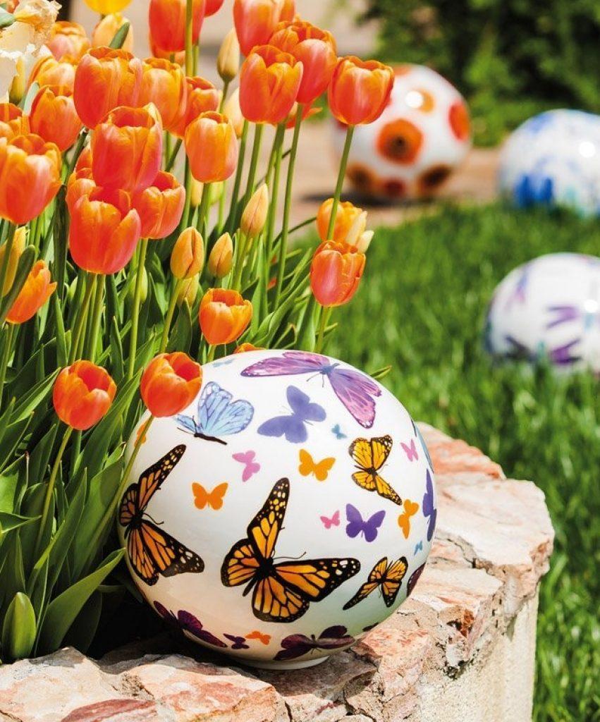 Butterflies Ceramic Gazing Ball Fresh Garden Decor