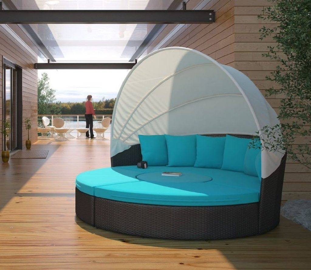 Circular outdoor wicker rattan patio daybed with canopy Outdoor daybed with canopy