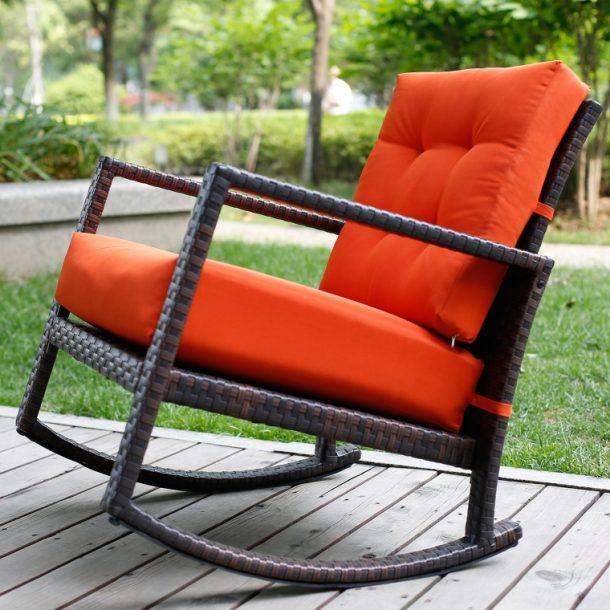 Cushioned Rattan Rocker Chair Rocking