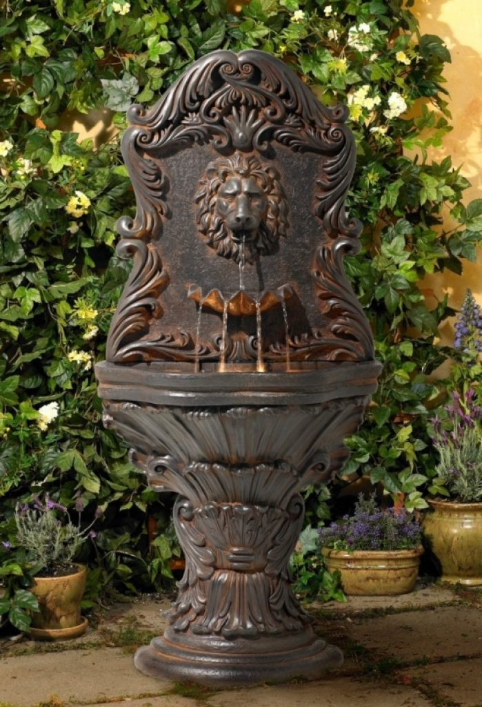Imperial lion acanthus wall fountain with light fresh for Acanthus decoration