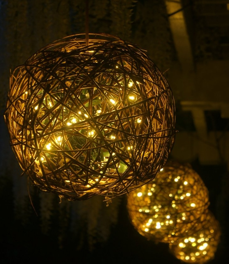 Natural Willow Branch Globe Filled With 100 Led Lights
