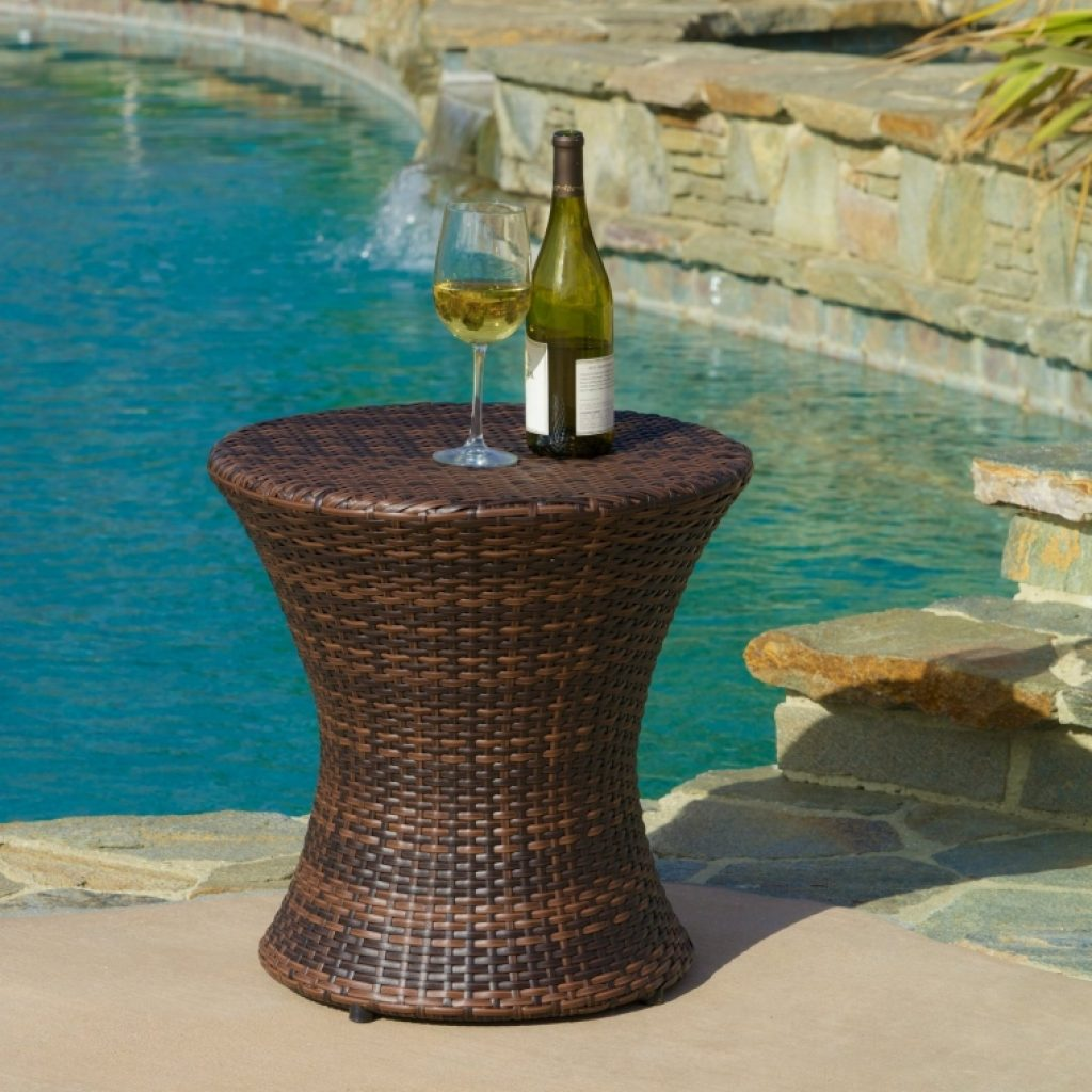 Outdoor brown wicker hourglass accent table fresh garden for Decorative garden accents