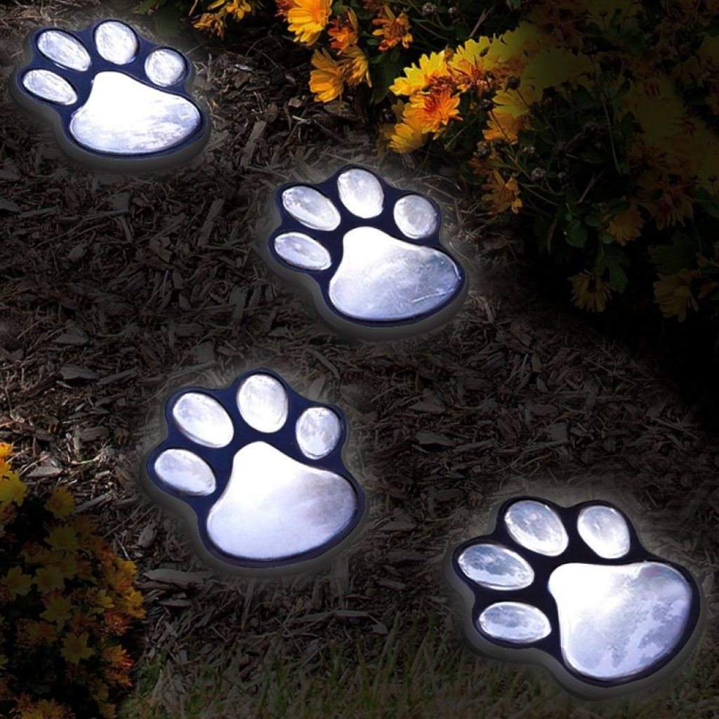 Set Of 4 Led Solar Pet Paws Animal Prints Outdoor Lamp Fresh Garden Decor