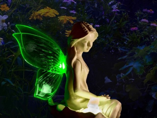Solar Angel Fairy Figurine Lights With Color Changing Butterfly Wings