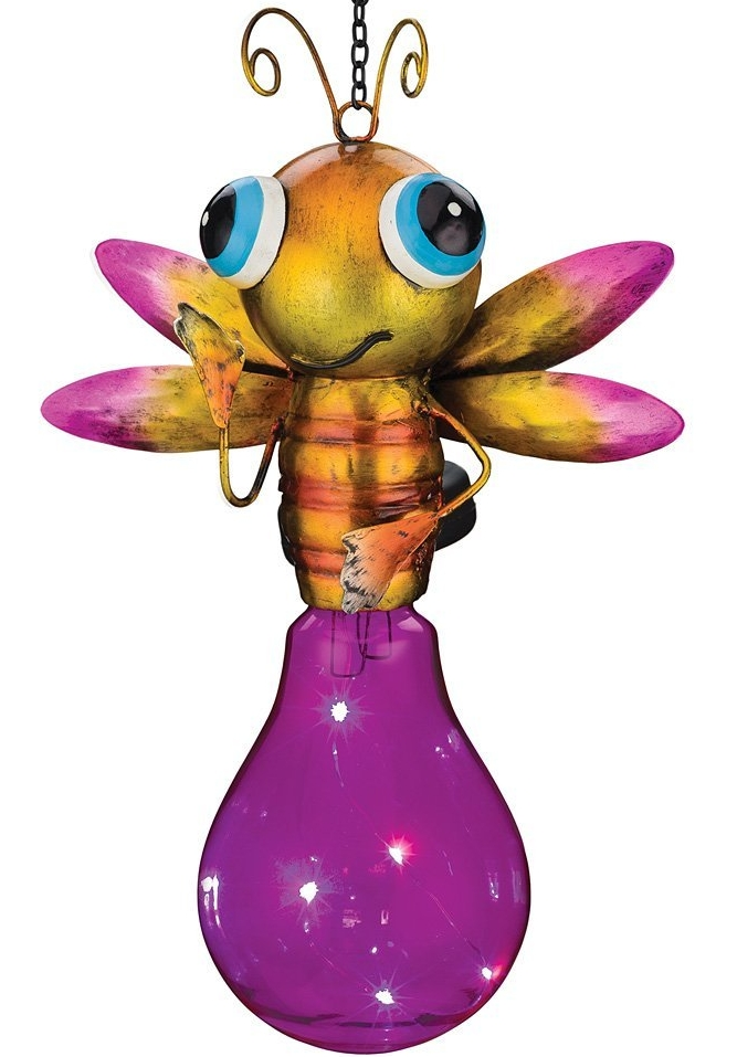 Solar Led Pink And Yellow Firefly Lightning Bug Lantern