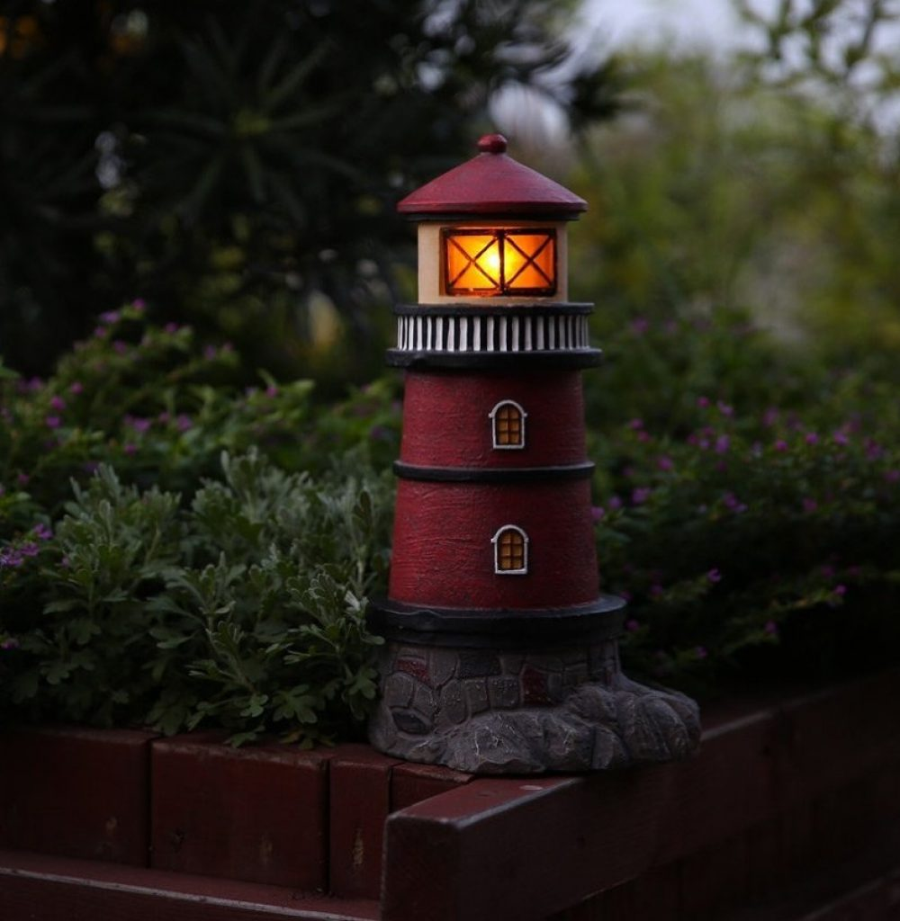 Solar lighthouse garden statue outdoor light fresh for Outdoor decorating with solar lights