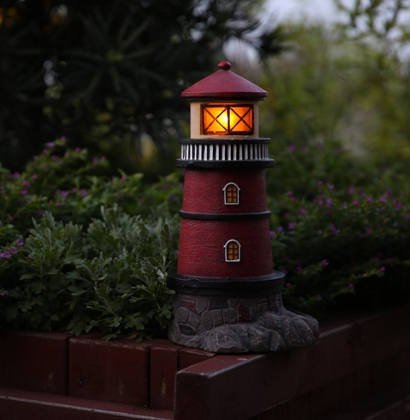 Solar Lighthouse Garden Statue Outdoor Light Fresh