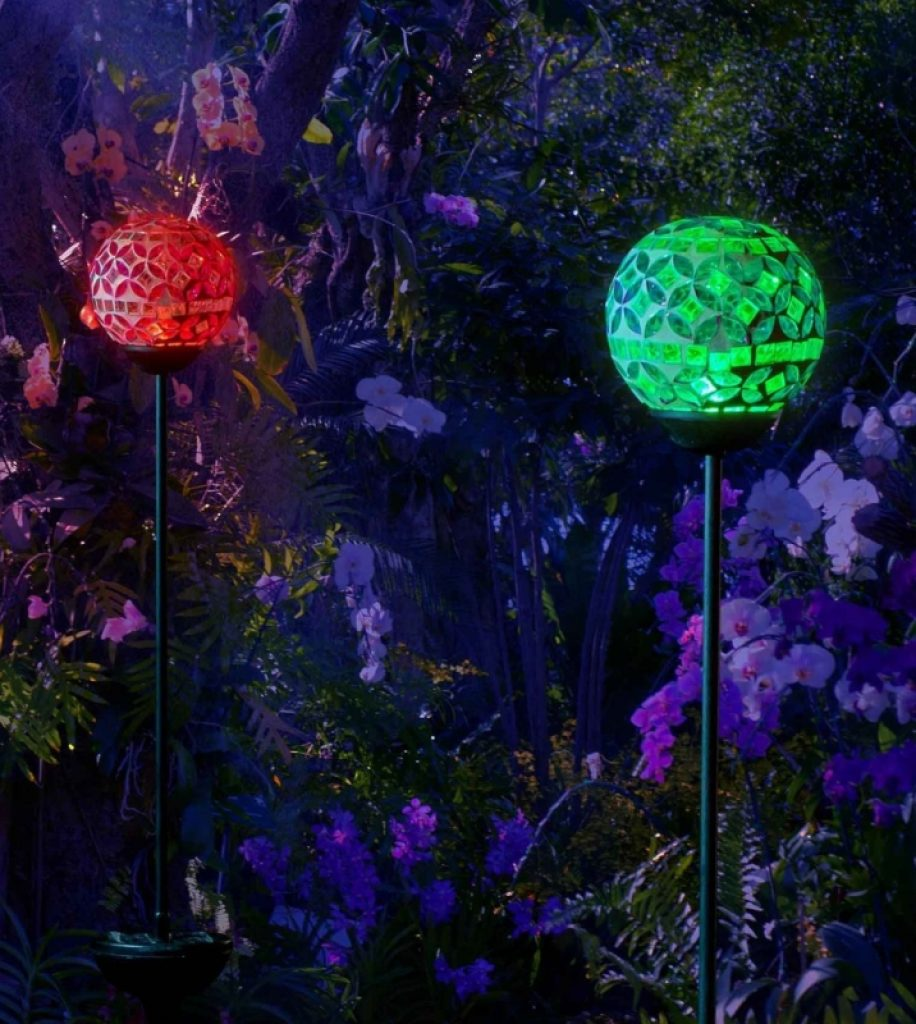 Solar Mosaic Crackle Ball Stake Light Globes Fresh