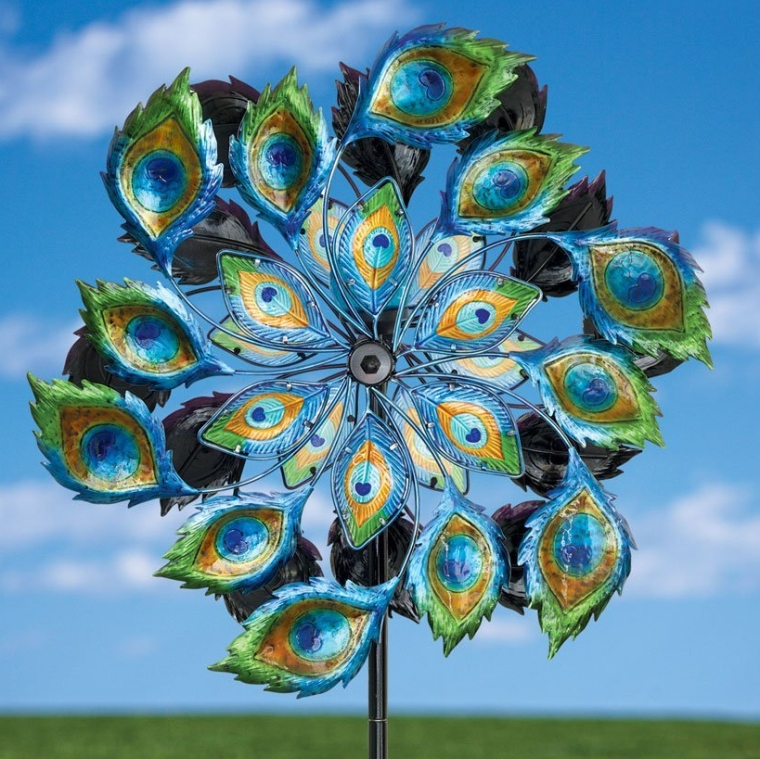 Solar Peacock Wind Spinner Fresh Garden Decor