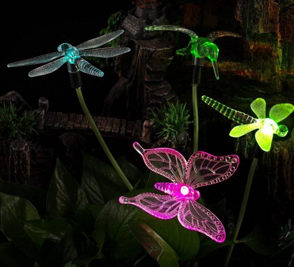 Solar powered color changing outdoor stake lights fresh garden decor - Garden solar decorations ...